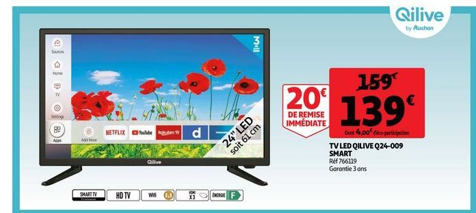 Tv led qilive q24-009 smart offre à 139€