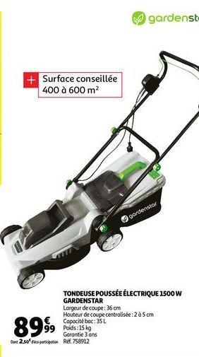 Tondeuse pousee electrique 1500w gardenstar offre à 89,99€