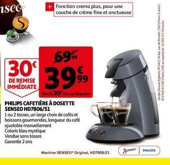 Philips cafetiere a dosette senseo  offre à 39,99€