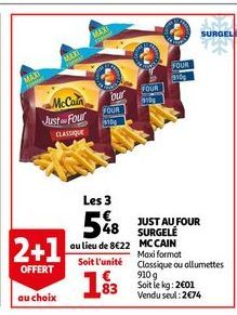 Just au four surgele Mc Cain offre à 5,48€