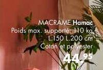 MACRAME hamac offre à 44,95€