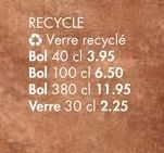 RECYCLE verres recycles offre à 3,95€