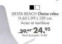 SIESTA BEACH chaise relax offre à 24,95€