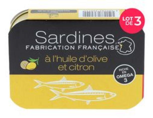 Lot de 3 boîtes de sardines huile d'olive et citron offre à 5€