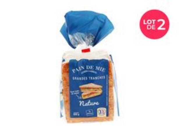 Lot de 2 paquets de pain de mie nature offre à 2€