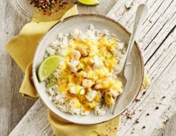 Méli-mélo de poisson et de fruits de mer sauce homardine et riz surgelés offre à 1,99€