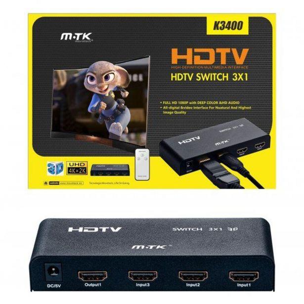 Switch HDMI 4 ports avec Télécommande (3 entrées et 1 sortie) K3400 offre à 25€