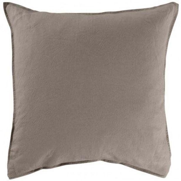 Taie d'oreiller carrée lin lavé Songe taupe offre à 24€