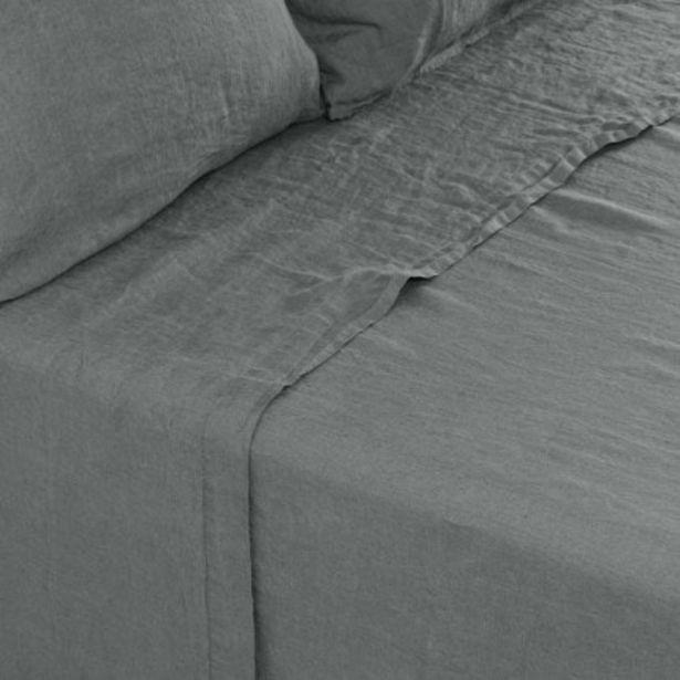 Drap de lit en lin lavé Songe kaki cendré offre à 104€