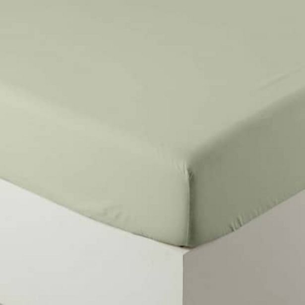 Drap housse pur coton lavé biologique Souffle sauge offre à 36€