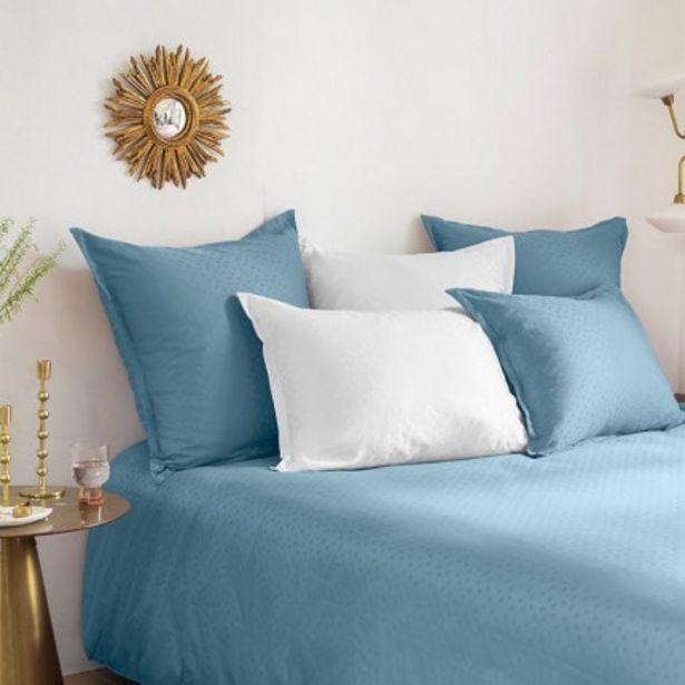 Parure de lit satin de coton jacquard pois et rayures Prestige glacier offre à 96€
