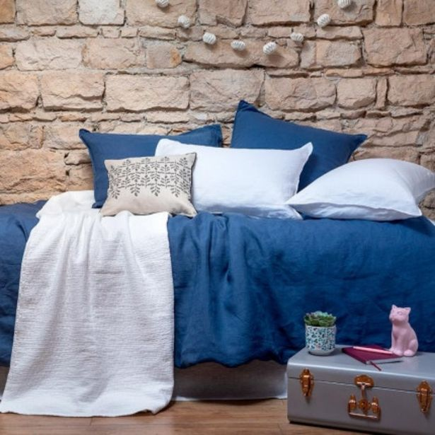 Parure de lit enfant en lin lavé Songe encre et blanc  offre à 96€