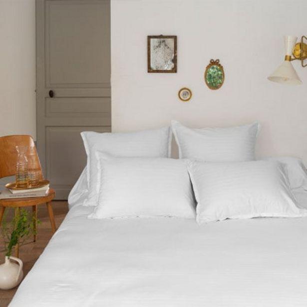 Housse de couette satin de coton jacquard pois et rayures Prestige blanc offre à 72€