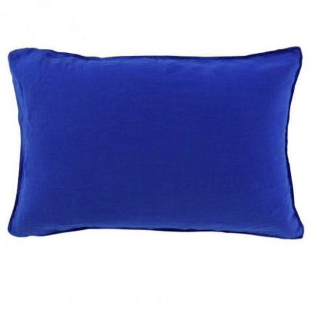 Taie d'oreiller rectangulaire lin lavé Songe cobalt offre à 24€