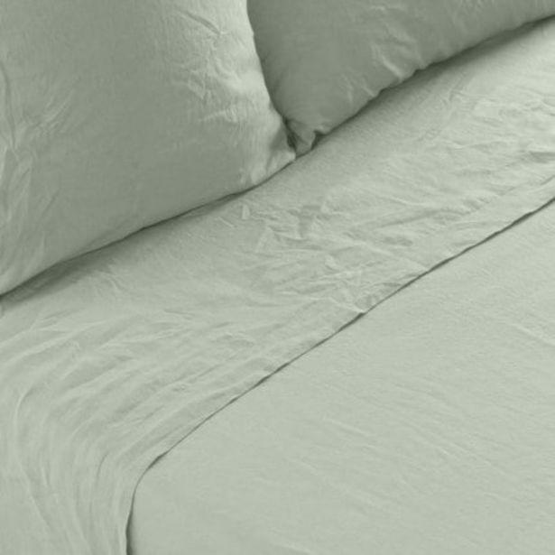 Drap de lit lin lavé uni Songe eucalyptus offre à 104€