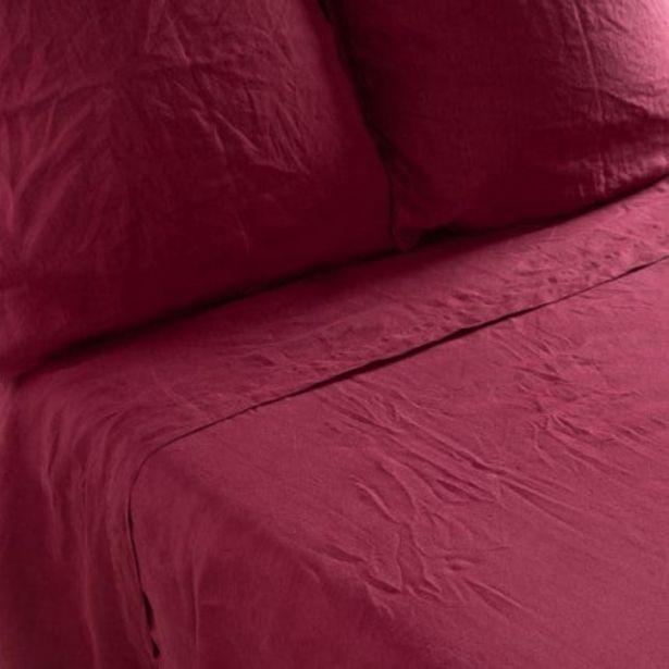 Drap de lit en lin lavé Songe griotte offre à 104€