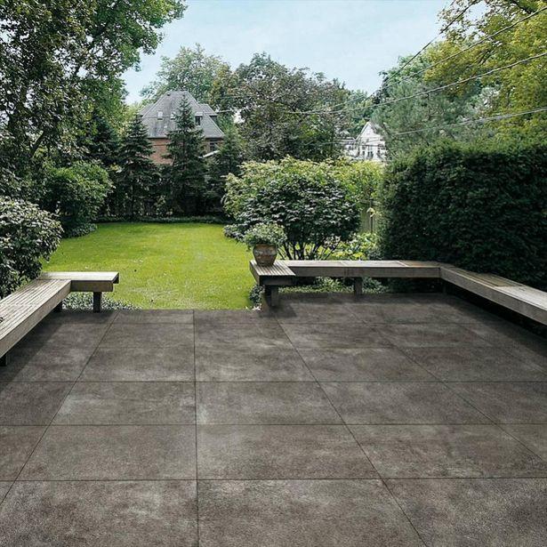 Dalle sol extérieur effet béton gris béton foncé Siena l.60 x L.60 cm offre à 42,39€