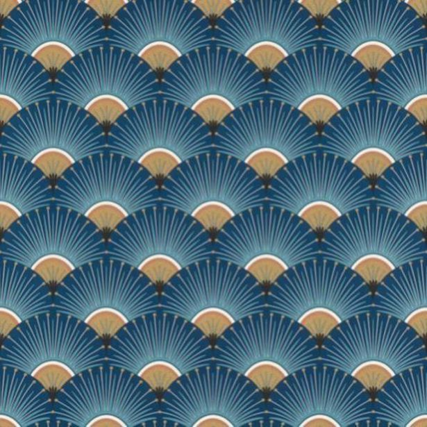 Papier peint vinyle Palmettes bleu offre à 19,9€