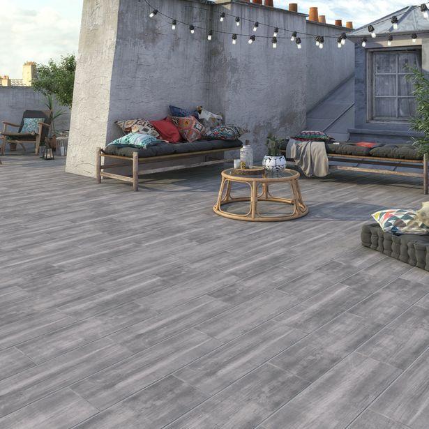 Carrelage sol extérieur forte effet bois gris Apero l.20 x L.60.4 cm offre à 13,56€