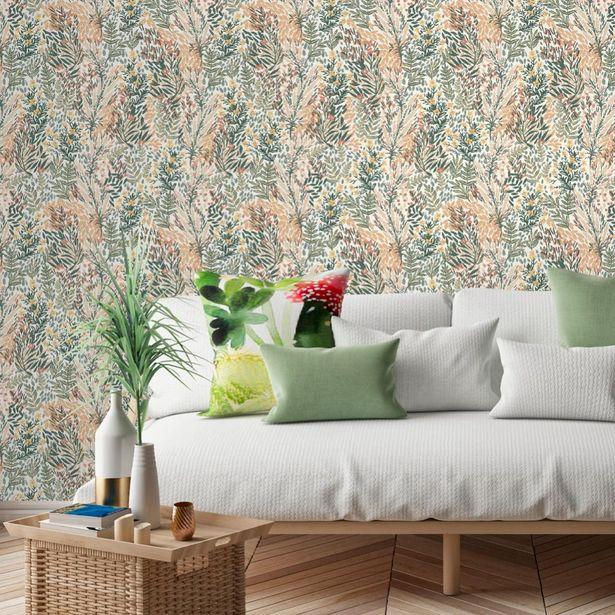 Papier peint vinyle jardin fleuri vert offre à 18,9€