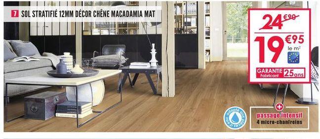 Sol stratifié 12mm décor chêne macadamia mat offre à 19,95€