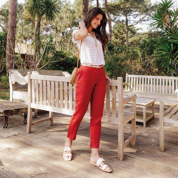 Pantalon chino taille basculée... offre à 34,99€