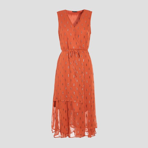 Robe midi évasée orange foncé ... offre à 27,99€