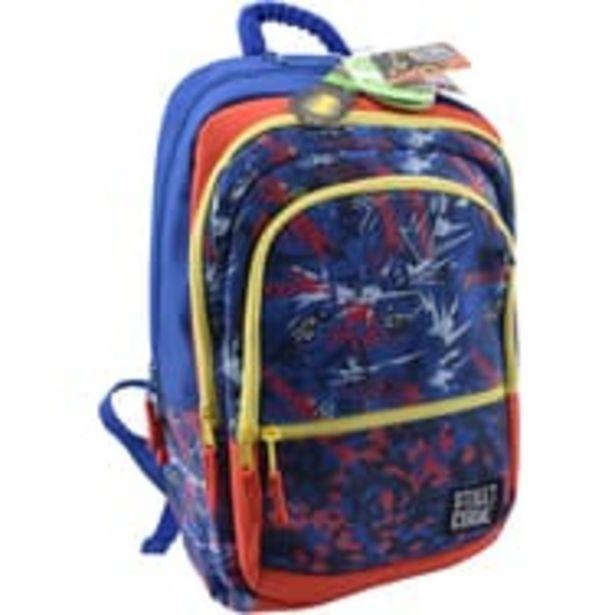 AUCHAN Sac à dos 3 compartiments polyester rouge et bleu COLORFUN STREET CODE offre à 8,99€