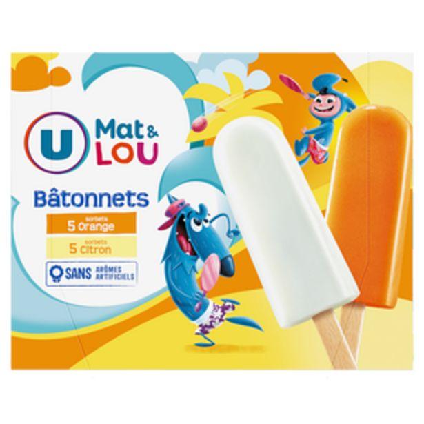 Bâtonnets glace à l'eau parfum orange & citron U MAT & LOU, x10 550g offre à 2,43€