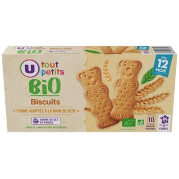 Biscuit bébé croissance nature U TOUT PETITS BIO, 150g offre à 1,96€