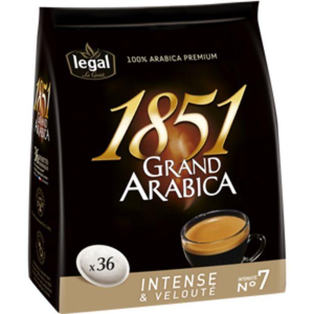 Café en dosettes Grand Arabica 1851 LEGAL, x36 soit 250g offre à 3,59€