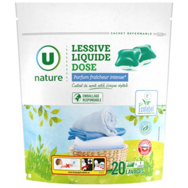 Lessive dose liquide fraîcheur intense U NATURE, 20 lavages offre à 4,46€