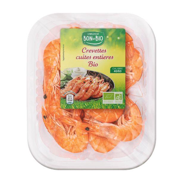 Crevettes entières cuites BIO offre à 5,99€