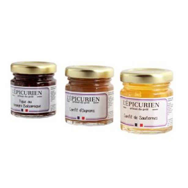 Réglette foie gras et compagnie (Condiment Figue au Vinaigre Balsamique. Confit de Sauternes. Confit d'Oignons)2x45g offre à 8,99€