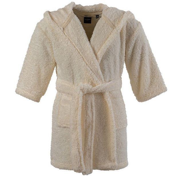 Robe de chambre enfant polaire à capuche broderie Sherpa écru offre à 15€