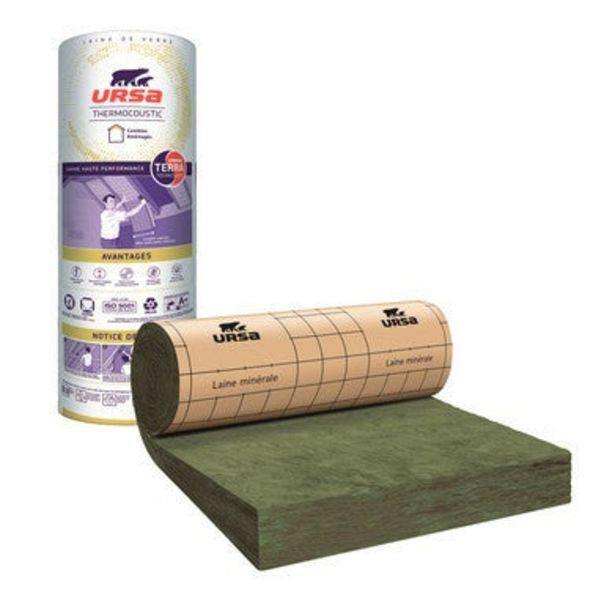 Rouleau laine de verre Kraft TH35 R = 4,55 L.400 x l.120 cm Ep.160 mm - URSA offre à 54€