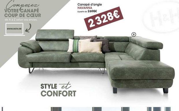 Canapé d'angle Havanna offre à 2328€