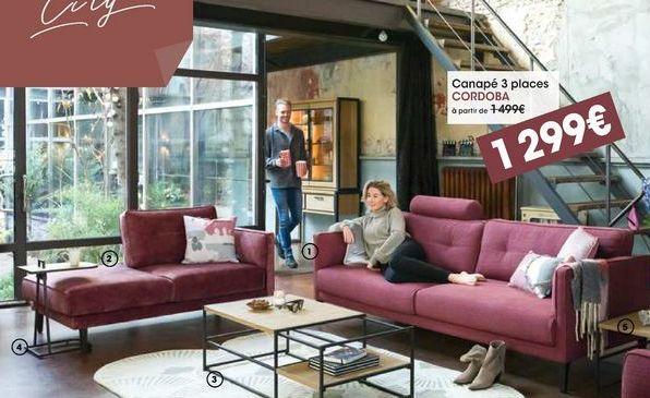 Canapé 3 places cordoba offre à 1299€