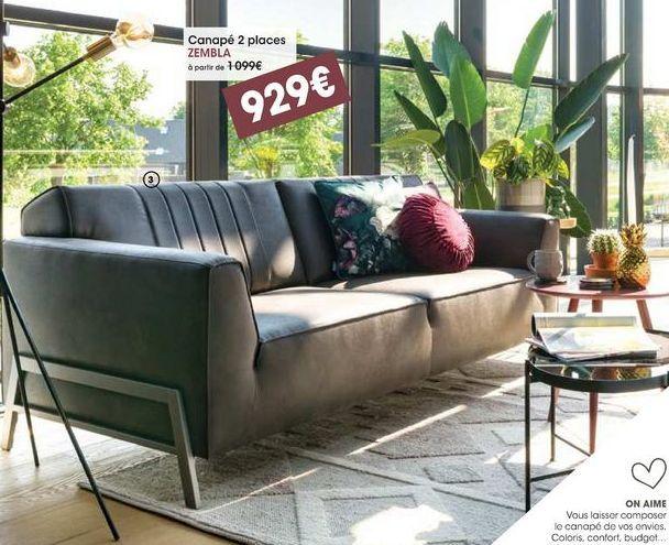 Canapé 2 places Zembla offre à 929€