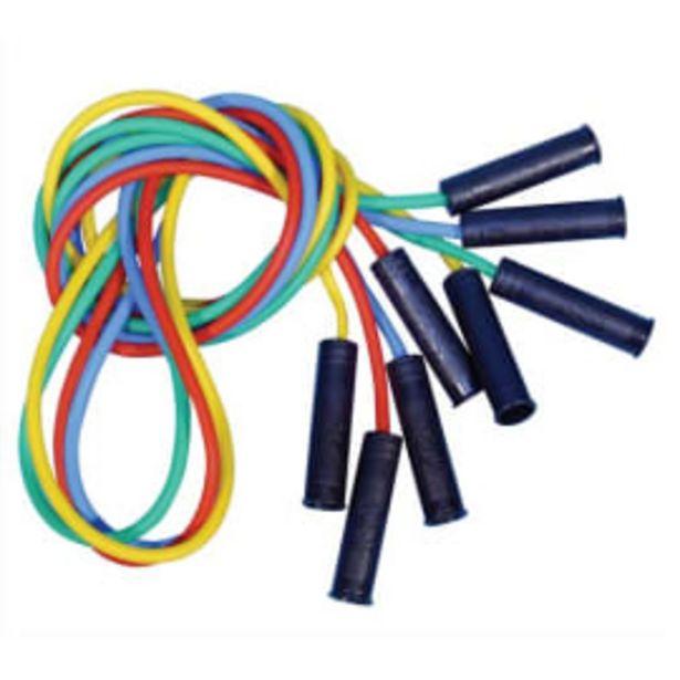FIRST LOISIRS Lot de 4 cordes à sauter en plastique avec poignées, coloris assortis, longueur 225 cm photo du produit offre à 7,07€
