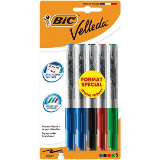 BIC Lot de 5 marqueurs pour tableau blanc effaçables à sec pointe moyenne VELLEDA bleu/noir/rouge/vert offre à 2,4€