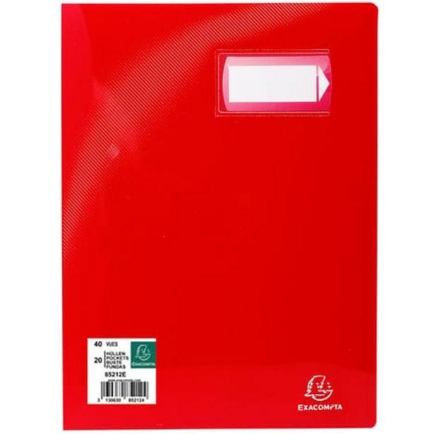 EXACOMPTA Porte-vues A4 40 vues Crystal rouge offre à 1,45€