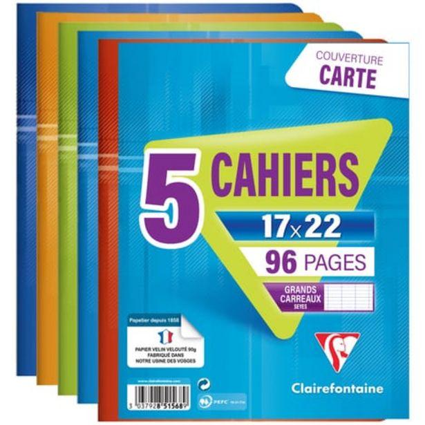 CLAIREFONTAINE Lot de 5 cahiers piqués 17x22cm 96 pages grands carreaux Seyes coloris assortis offre à 2,55€