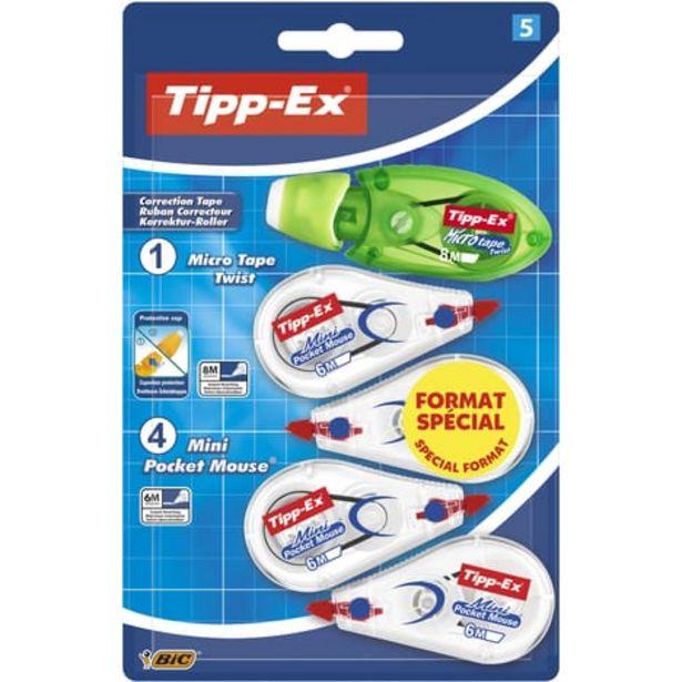 BIC Lot de 4 mini souris correctrices 6m + 1 souris correctrice 8m Micro Twist blanc et vert offre à 3,3€