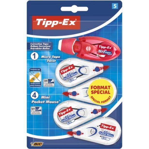 BIC Lot de 4 mini souris correctrices 6m + 1 souris correctrice 8m Micro Twist blanc et rouge offre à 3,3€