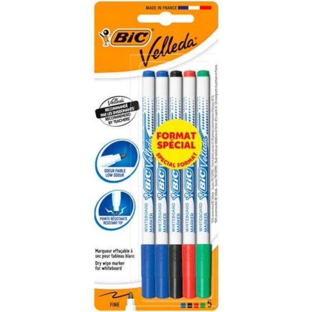 BIC Lot de 5 marqueurs pour tableau blanc effaçables à sec pointe fine VELLEDA noir/bleu/rouge/vert offre à 1,35€
