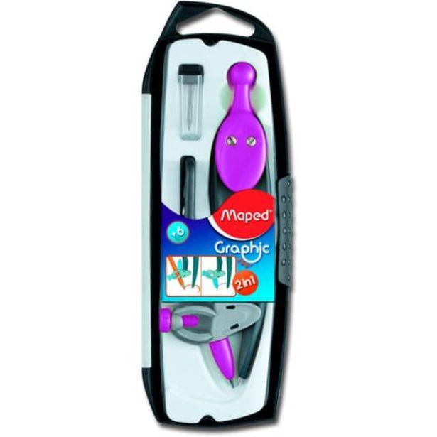 MAPED Coffret compas à mine et à bague interchangeable 3 pièces Graphic 360° violet offre à 2,09€