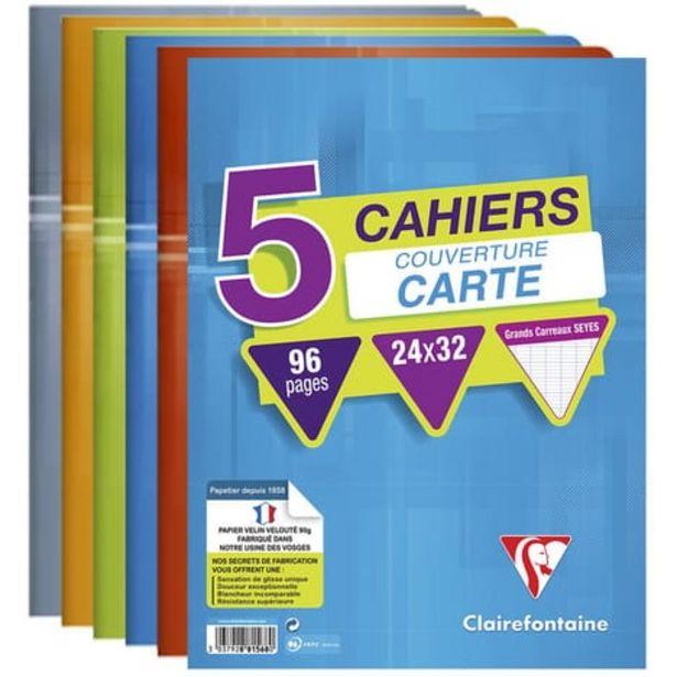 CLAIREFONTAINE Lot de 5 cahiers piqués 24x32cm 96 pages grands carreaux Seyes coloris assortis offre à 5,95€