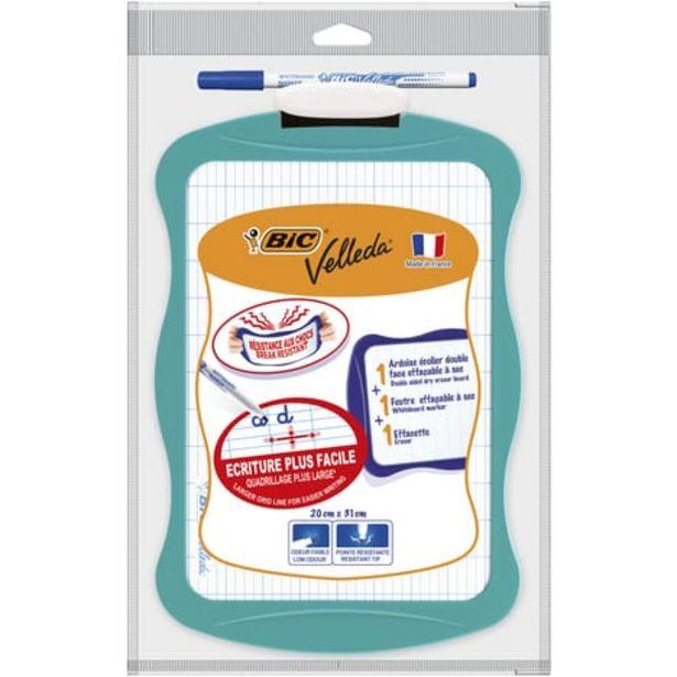 BIC Ardoise blanche 20x31cm + 1 feutre + 1 effacette bleu offre à 1,6€