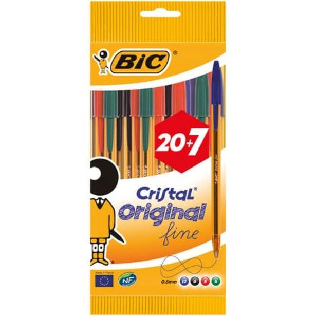 BIC Lot de 27 stylos bille pointe fine bleu/noir/rouge/vert CRISTAL ORIGINAL FINE offre à 2,8€